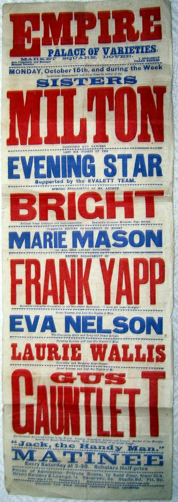 Promotional banner showing Sisters Milton performing at the Empire Palace of Varieties