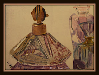perfume bottles watercolor painting