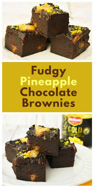 Rich and indulgent chocolate and pineapple brownies topped with chocolate fudge icing and pineapple. Made with flax eggs. Suitable for vegetarians, vegans and those following a dairy-free and egg-free diet. #chocolatebrownies #brownies #veganbrownies #dairyfreebrownies #eggfreebrownies #flaxeggs #pineapple #vegandessert