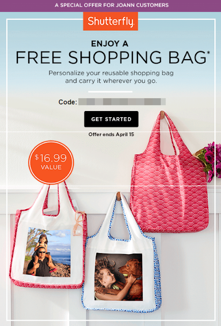 JoAnn Email Subscribers: Free Reusable Shopping Bag at Shutterfly ...