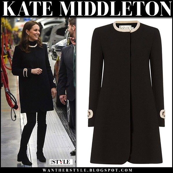 Kate Middleton in black short coat goat washington and black suede boots russell bromley hi ride maternity royal fashion november 22