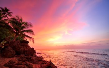 Wallpaper: Sunset over the Ocean in Rincon, Puerto Rico