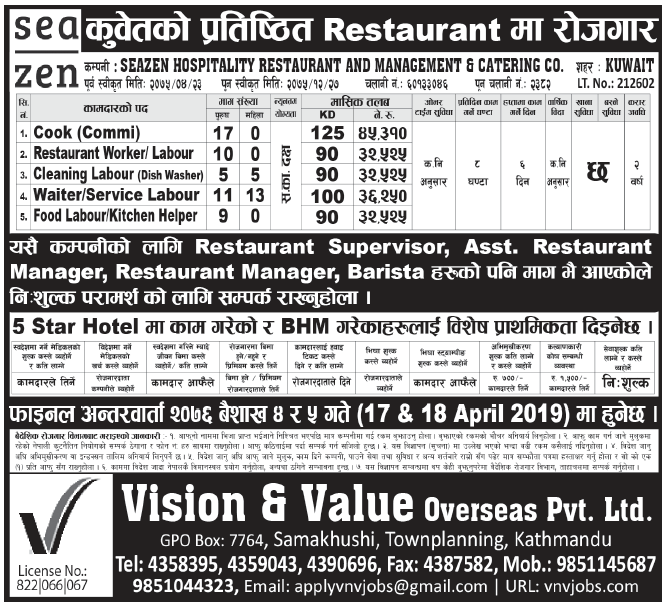 Jobs in Kuwait for Nepali, Salary Rs 45,310