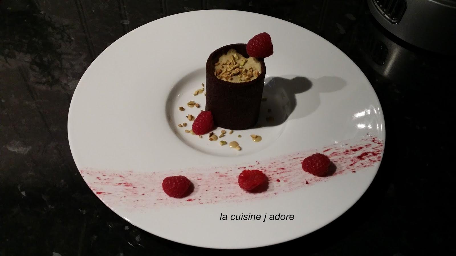 La cuisine j adore cornet au chocolat emulsion pistache - Faire une emulsion en cuisine ...