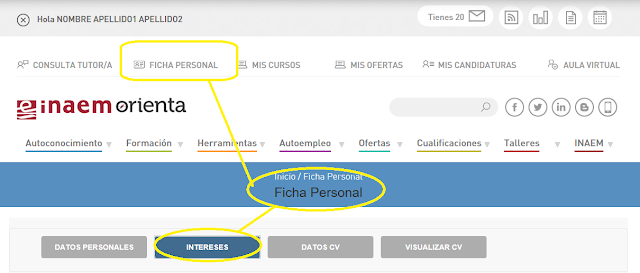 Ficha personal, intereses