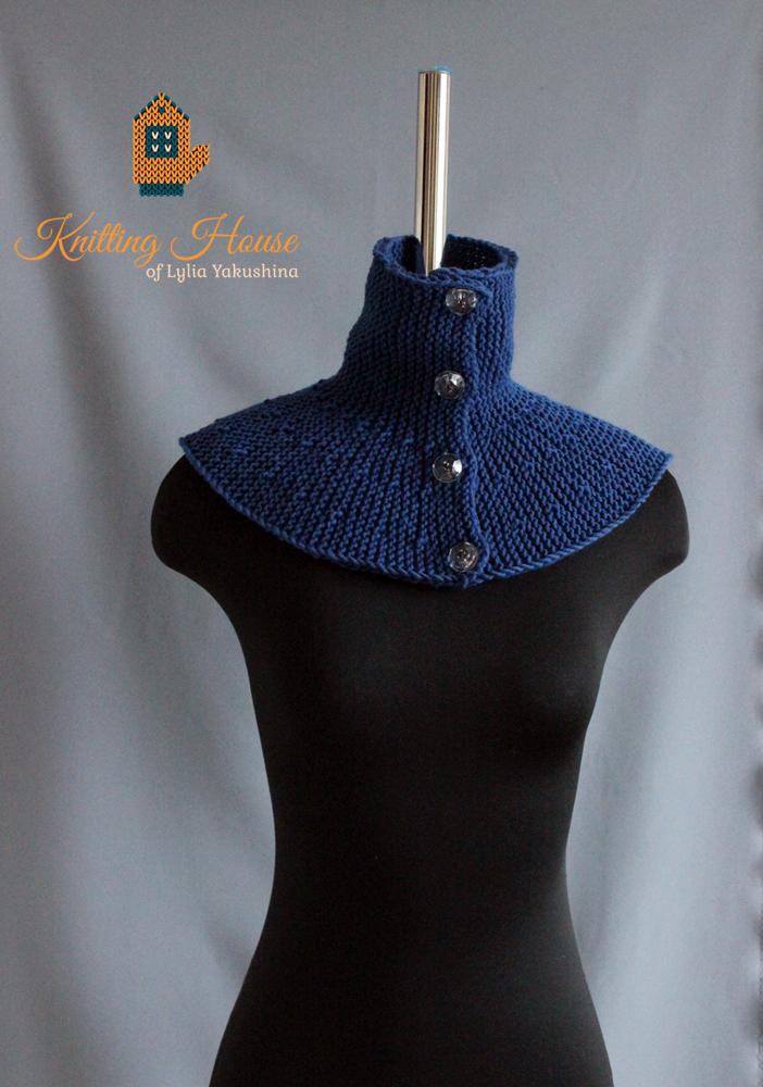Art Blog Of Lylia Yakushina снуд темно синего цвета на пуговицах