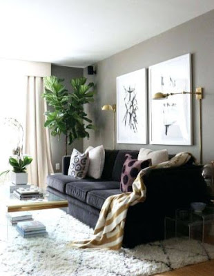 Living Room Decorating Ideas With Cool Black Sofa