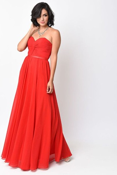 For tanned girls: a red strapless prom dress by Sherry London