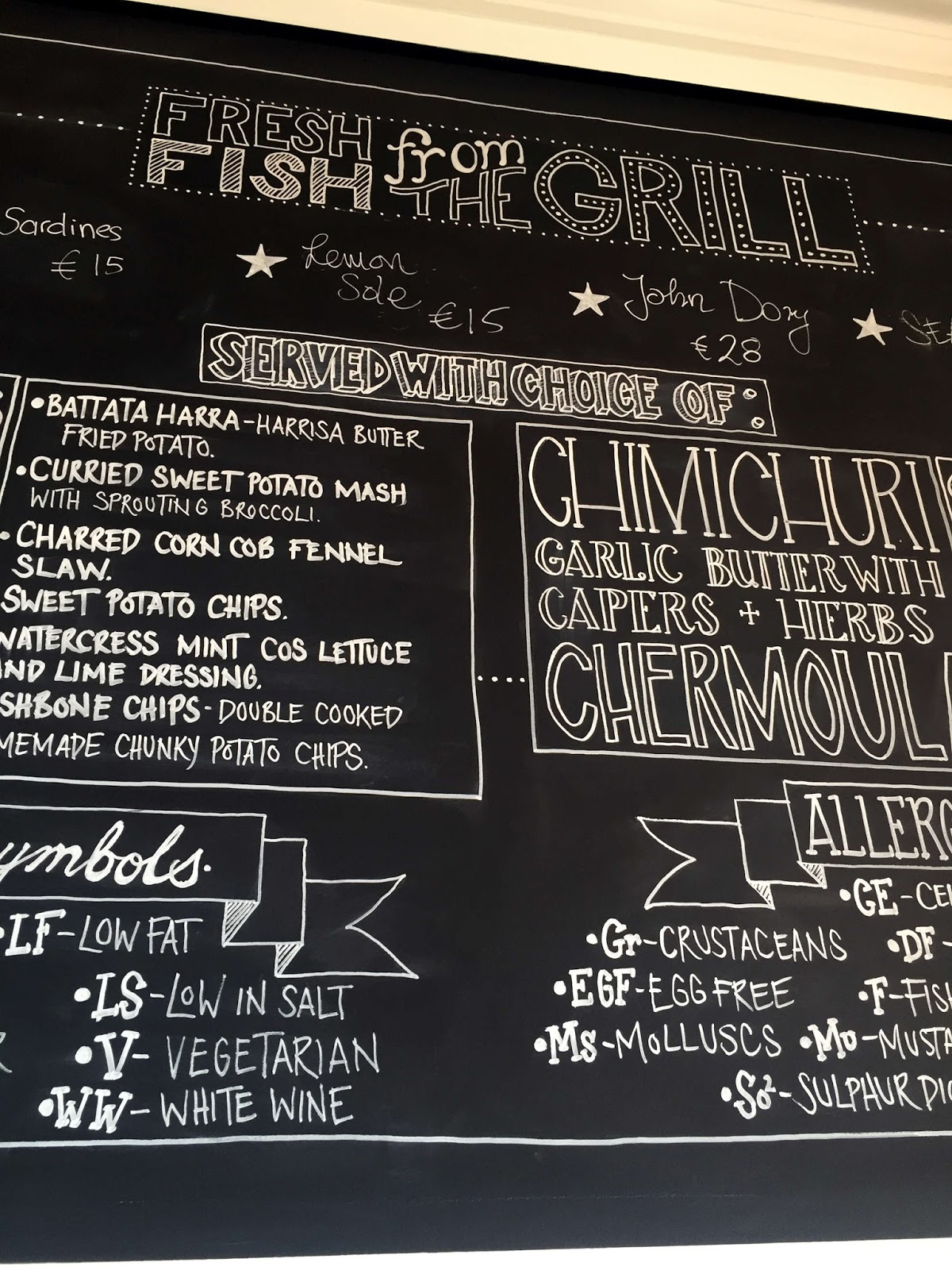 Stitch & Bear - Fishbone - Blackboard menu