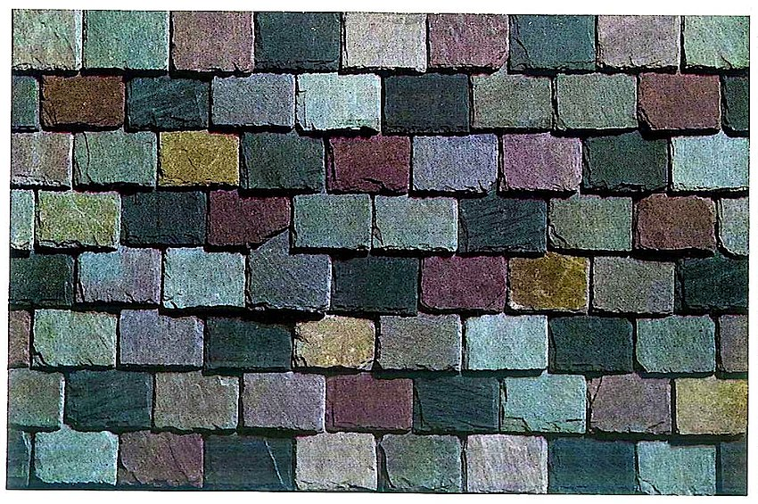Colored stone roofing shingles from a 1930 builder's supply catalog