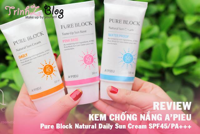 review kem chong nang apieu pure block