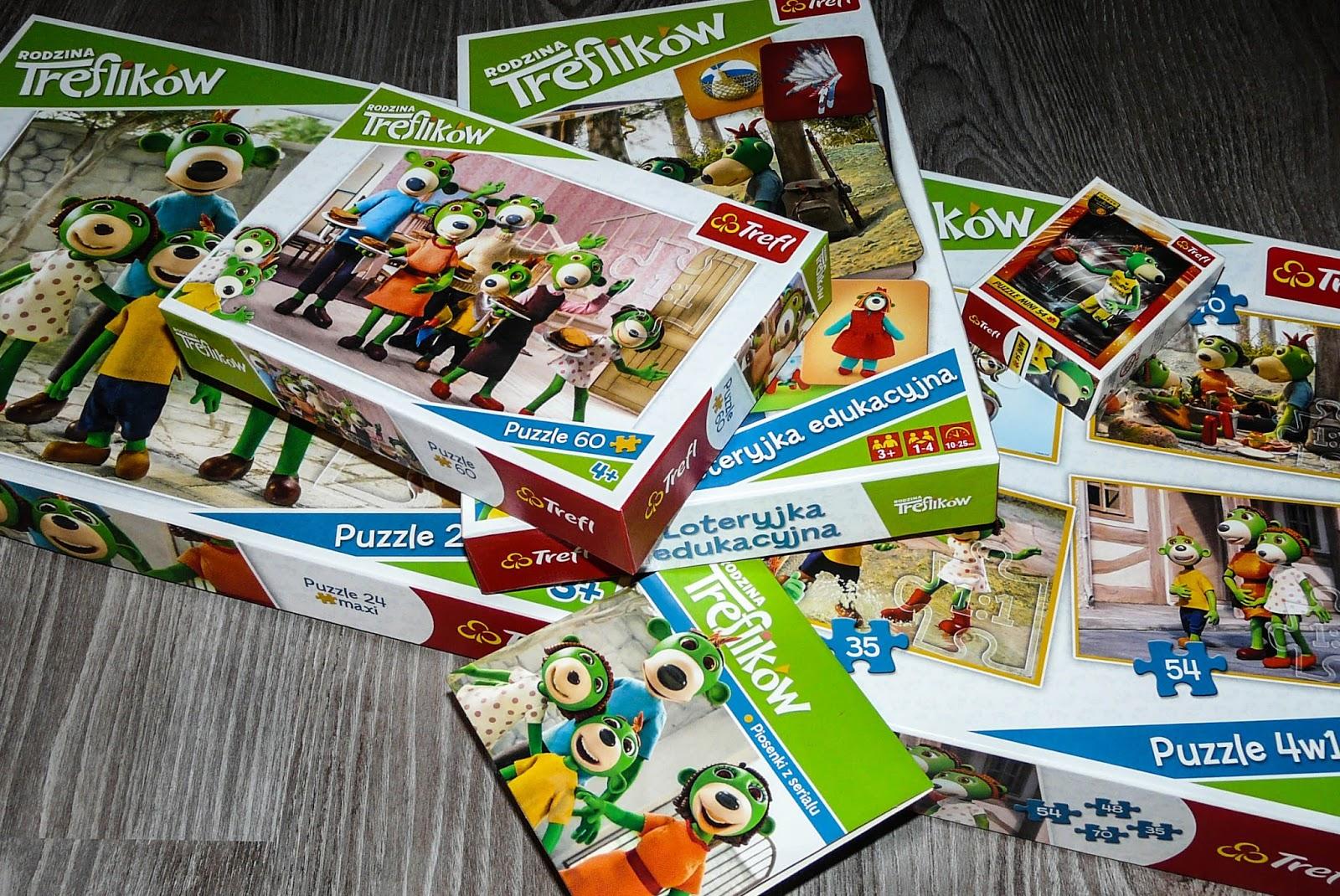 zabawki i puzzle z motywem treflików, zabawki dla trzylatka