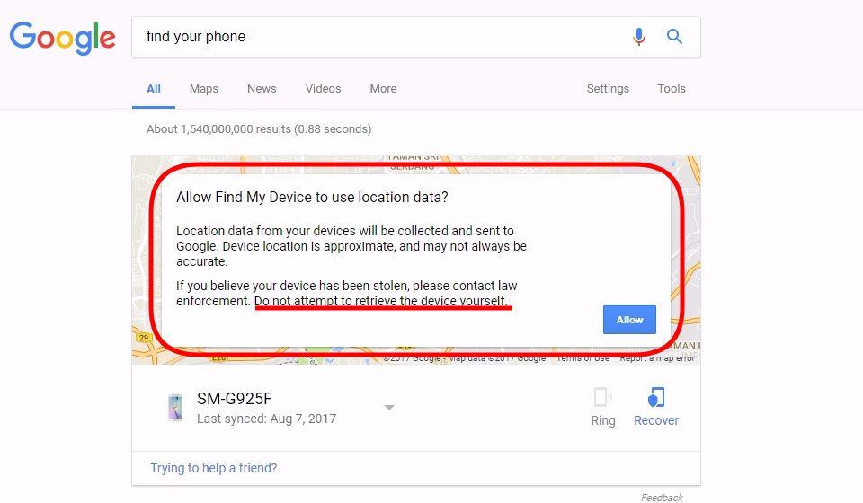 cari telefon hilang guna google