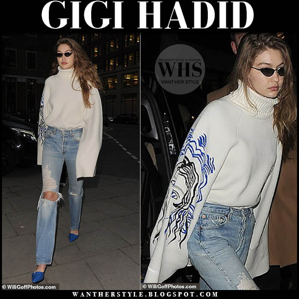 fd6efc96ebb Gigi Hadid wore white oversized turtleneck phillip lim sweater and distressed  jeans night out in London