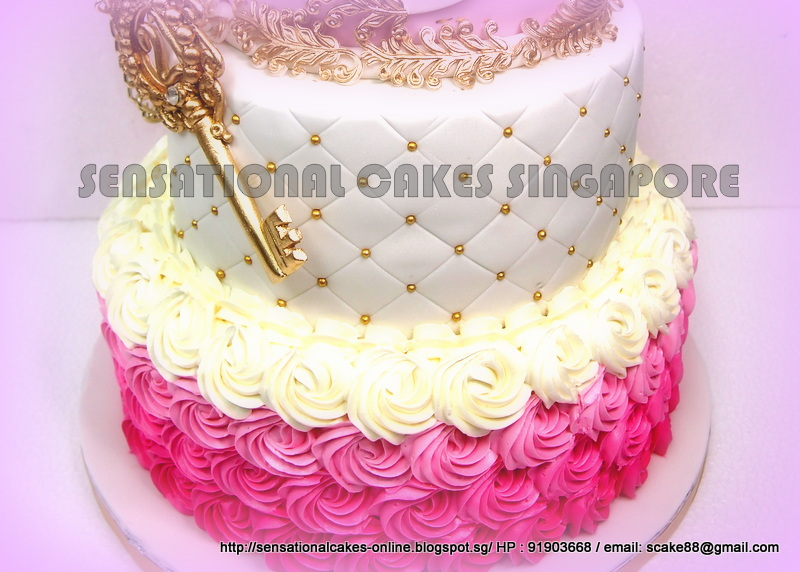 The Sensational Cakes 3 Tier Princess Pink Golden Cake