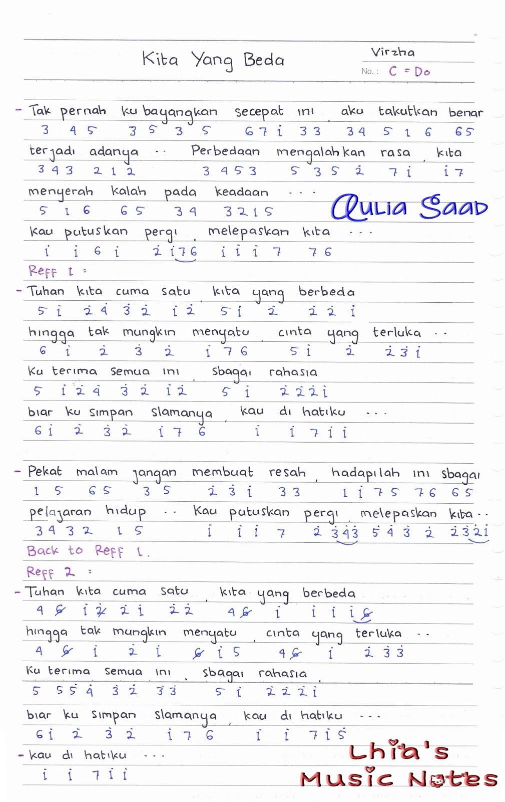 Lirik Lagu Kita Yg Beda : lirik, Angka, Virzha, Aulia's, World