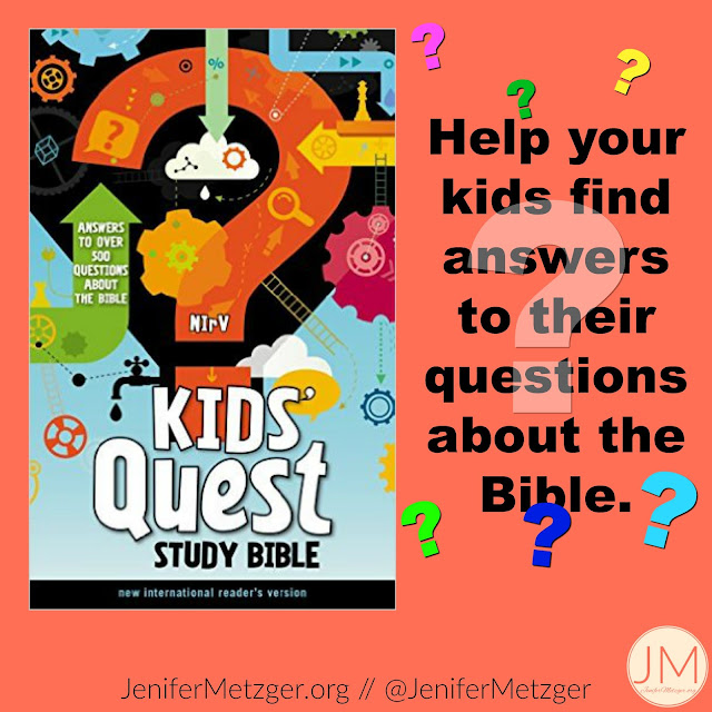 Questions are good, That's how kids learn. When they ask questions about the Bible, that's great! That means they want to know and we can teach them. Review of Kids' Quest Study Bible. #zonderkids #zondervan #childrensBible