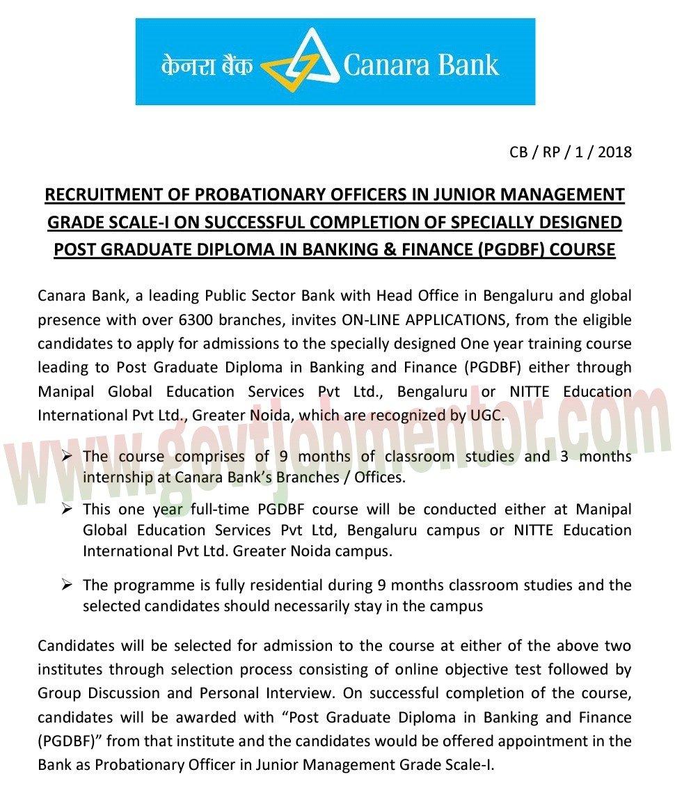 Canara Bank PO Recruitment Notification 2018, Download PDF