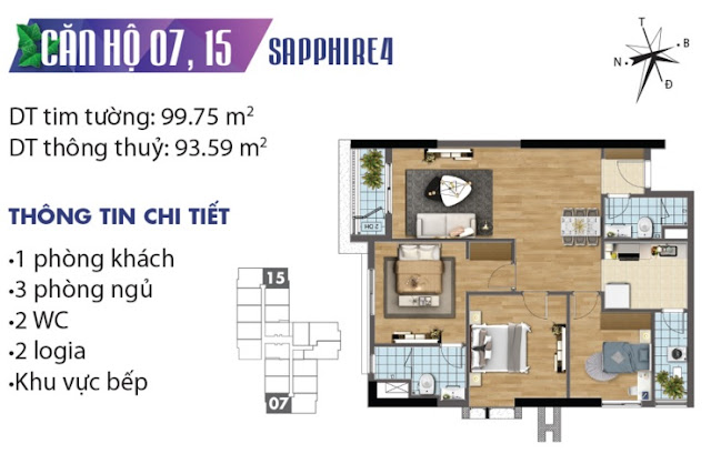 Mặt bằng thiết kế căn số 7 và 15 tòa Sapphire 4