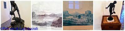 particolari della casina con sculture di fanciulli pescatori e litografie che mostrano come si accedeva alla Casina