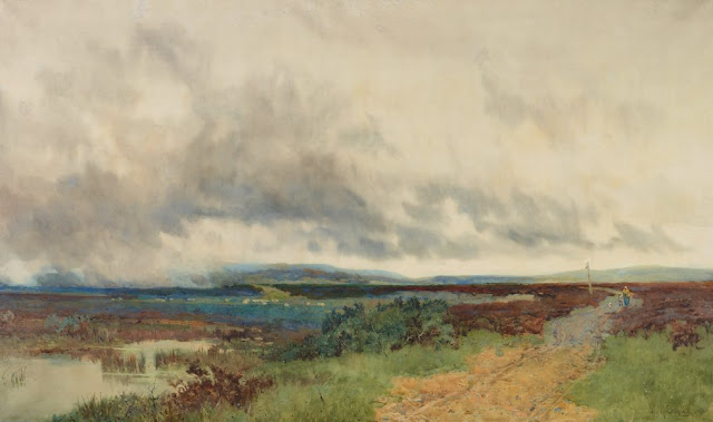 "Artwork, XIX century art, watercolours, ""Landscape"" by John Bromley, 1900."