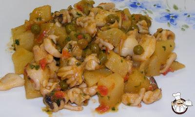 Seppioline in umido con patate e piselli.