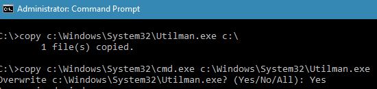 copy c:\Windows\System32\Utilman.exe c:\