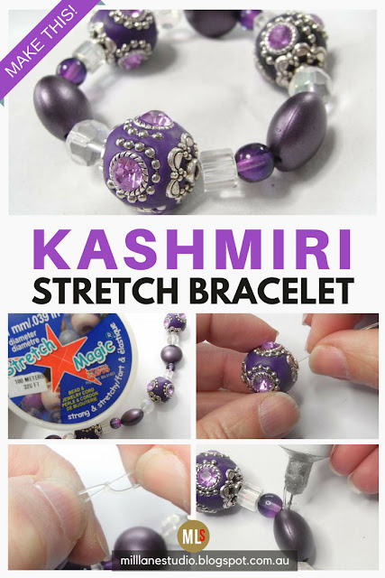 Step by Step tutorial sheet for how to make a stretch bracelet.