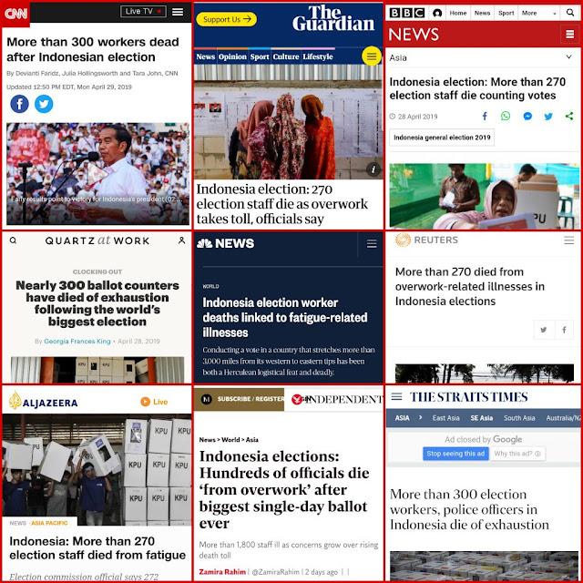 Media-media Internasional Soroti Tewasnya Ratusan Petugas