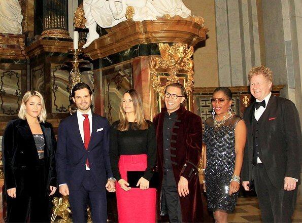 Molly Sanden, Gladys del Pilar and Fredrik Benedict. Princess Sofia at Christmas concert Jul i Vasastan in Gustav Vasa Church