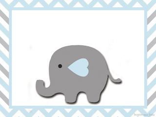 Para hacer invitaciones, tarjetas, marcos de fotos o etiquetas, para imprimir gratis de Elefante Bebé en Celeste y Gris.