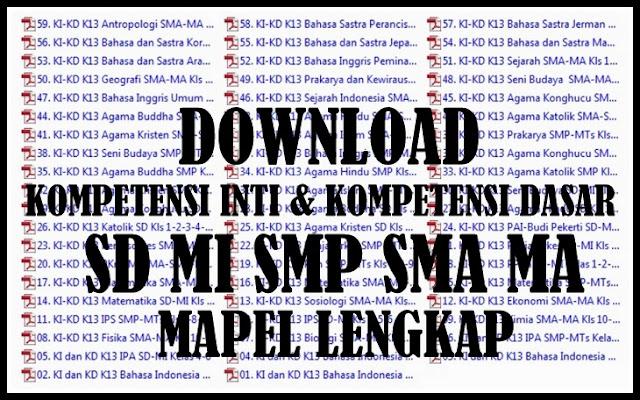 Download Kompetensi Inti & Kompetensi Dasar Semua Jenjang Mapel Lengkap