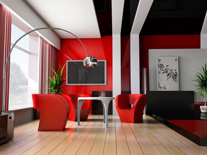 kırmızı siyah beyaz oturma odası dekorasyonu