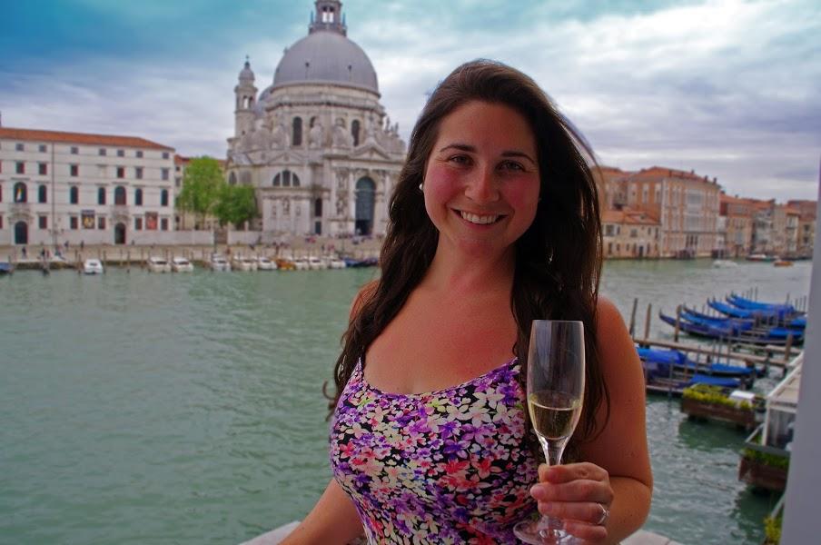 Girl at Westin Europa & Regina Venice with Prosecco