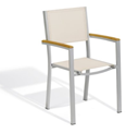 Oxford Garden Travira Aluminum and Teak Armchair, Natural Sling, 4-Pack