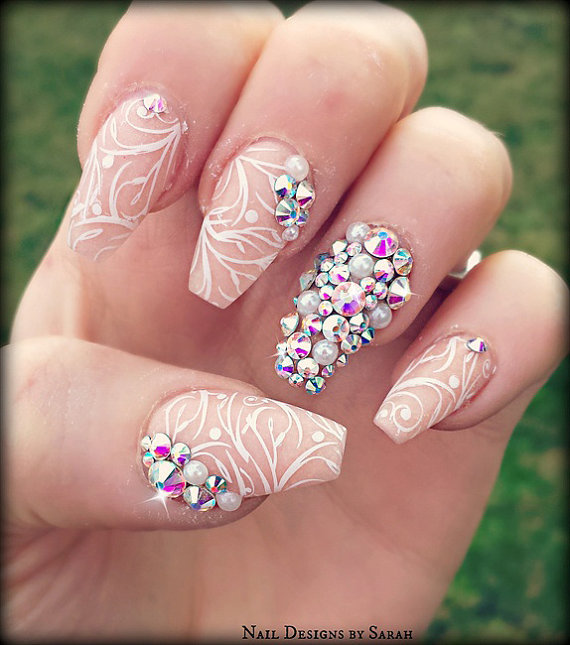 Diamond nails glamorous nails with diamonds gallery prinsesfo Image collections