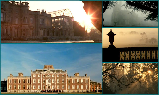 Easy Virture movie collage, sweeping outdoor shots of early morning mist and frost in the british countryside. English country house and surrounding grounds. adaptation of Noel Coward play