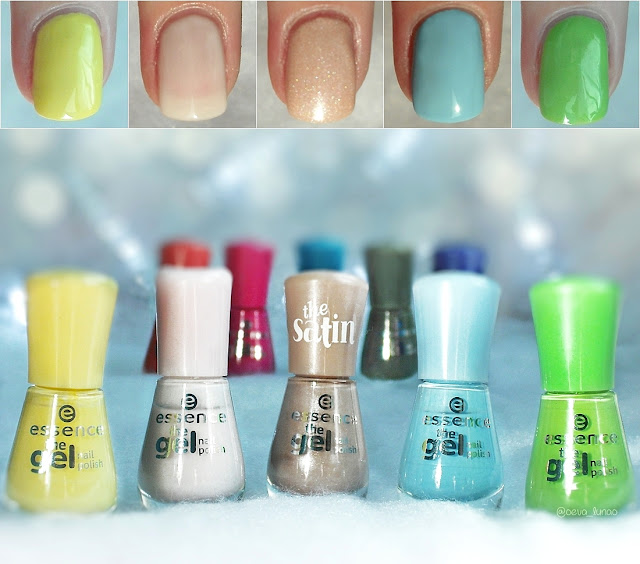 essence gel nail polish - 38 love is in the air, 05 sweet as candy, 35 engaged, 39 blue bubble di blue, 26 brazil jungle - Pantone - Primrose Yellow, Pale Dogwood, Hazelnut, Island Paradise, Greenery