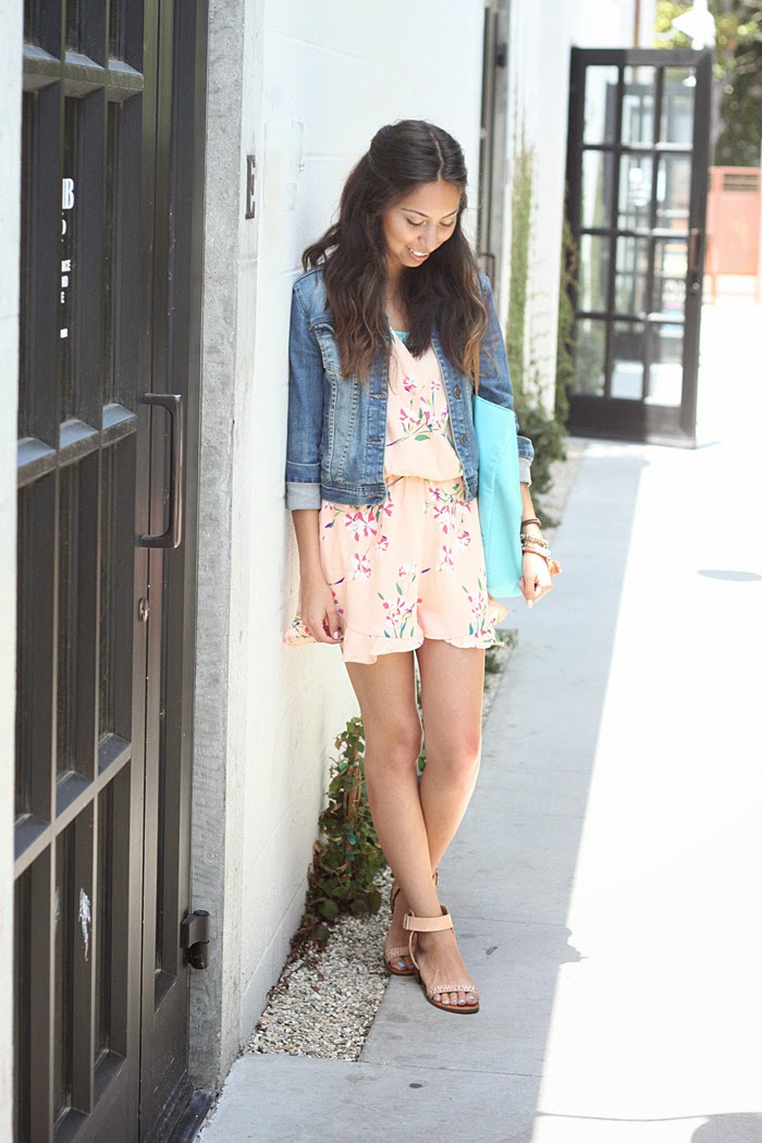 floral romper and jean jacket