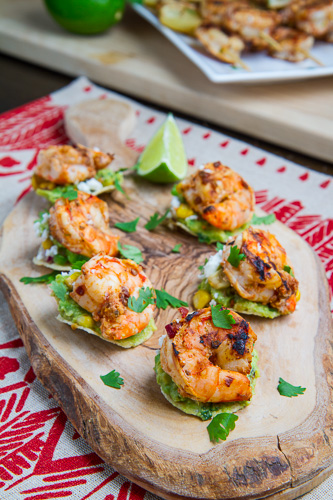 Chipotle Lime Grilled Shrimp and Corn Guacamole Mini Tostadas