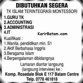 Lowongan Kerja TK Islam Batam Centre