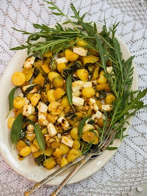 pumpkin stir fry salad | sage butter infused pumpkin, baby potato and paneer salad