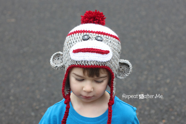 Crochet sock monkey hat pattern repeat crafter me dt1010fo