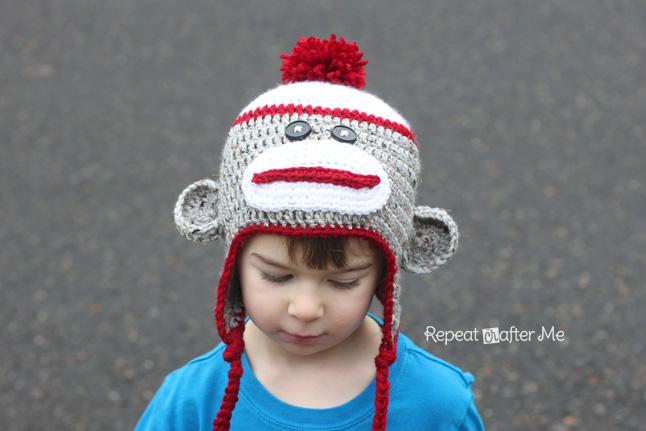 Monkey Beanie Hat Crochet Pattern : Crochet Sock Monkey Hat Pattern - Repeat Crafter Me