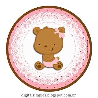 Toppers o Etiquetas de Osita Bebé para imprimir gratis.