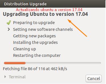 Actualizar ubuntu 17.04 Zesty Zapus
