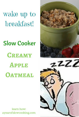There's nothing better than a breakfast that cooks itself! Oats cook overnight in a 4-quart crockpot slow cooker. Recipe from Stephanie O'Dea