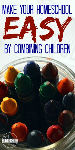 Make your homescool easier by combining children so they various grades are using the same curriculum (with slight tweaks for each). Practical tips and advice for homeschooling families.