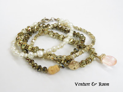 Pearls, Pink Quartz, Swarovski crystal bead bracelets - Venture & Roam